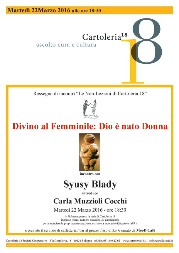 Cartoleria18 - Locandina - Non Lezioni - Divino al Femminile